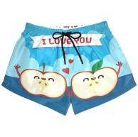 BONIPE Damen Badehose Valentinstag Apple Love You Quick Dry Surf Beach Board Shorts mit Kordelzug und Taschen S Bekleidung