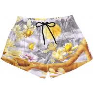 BONIPE Damen Badehose Vintage Chinesische Magnolia Blume Schnell trocknend Surf Strand Boardshorts mit Kordelzug und Taschen S Bekleidung