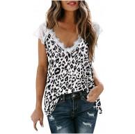 BORTGYUI Damen V-Ausschnitt Spitze Tank Tops Sommer Casual Ärmellose Shirts Side Split Bekleidung