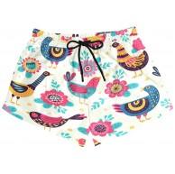 Damen Badehose Retro Tier Huhn Hahn Floral Quick Dry Surf Beach Board Shorts mit Kordelzug und Taschen S Bekleidung