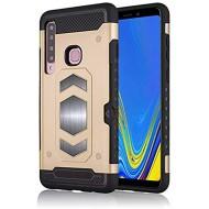 Kompatibel mit Samsung Galaxy A9 Hülle TPU Soft Silikon+Hart PC handyhülle lightweight Kartenschlitz schutzhülle Ultra dünn magnetisch Patch Case Kompatibel mit Auto-Magnethalterung Golden Bekleidung