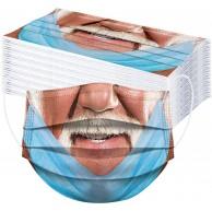 N AA Amuse-MIUMIU 50 Stück Einmal Mundschutz Mit Nasenbügel Erwachsene Lustiger Mund Motiv Bunt Mund-Nasen-Bedeckung 3 Lagig Atmungsaktiv Mundbedeckung Halstücher für Damen Männer Bekleidung