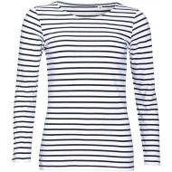 Sols Damen Marine T-Shirt gestreift langärmlig XL Weiß Marineblau Bekleidung