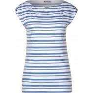 Street One Damen T-Shirt mit Streifenmuster Smoky Blue 44 Bekleidung