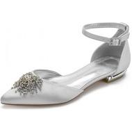 Charmstep Damen Hochzeitsschuhe Flache Knöchelriemen Ballerinas Satin Strass D'orsay Spitzen Zehen Party Prom Brautschuhe 5047-62 Schuhe & Handtaschen
