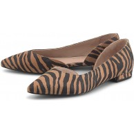 Cox Damen Trend-Ballerina Beige Rauleder Schuhe & Handtaschen