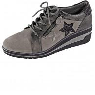 Naturläufer Schnürschuh mit schöner Sternchenapplikation Grau Schuhe & Handtaschen