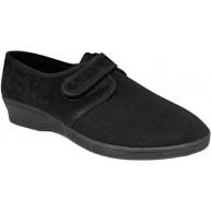 Bocciolo Shoesy 5421 Damen-Hausschuhe bequem leicht verstellbar mit geschlossenem Zugband Rückseite aus Samt Absatz 4 cm Schwarz Schuhe & Handtaschen