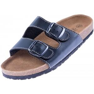 Nawemo Leder-Zimtlatschen Schwarz Schuhe & Handtaschen