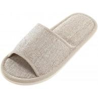 Riou Damen Herren Leinen Hausschuhe Winter Indoor rutschfeste Bequem Weicher Boden Flache Pantoffeln Slipper Schuhe & Handtaschen