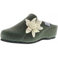 TOFEE Damen Hausschuhe Pantoffeln Pantoletten Naturwollfilz Edelweiß Oliv grün Schuhe & Handtaschen
