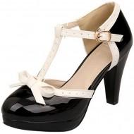 RAZAMAZA Damen T Spangen Pumps Blockabsatz High Heels Plateau Süß 8cm Absatz Schuhe Schuhe & Handtaschen