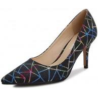 ZFAFA Damen High Heel Mittlerer Absatz Pumps Spitz Stiletto Mode Goldpulver Farbige Linien Sexy Party Schuhe Schuhe & Handtaschen