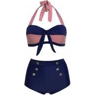 Doballa Damen 50er Retro Bademode Bikini Set Neckholder Push up hohe Taille Bauchweg Gestreift Bekleidung