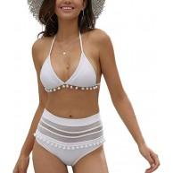 Summer Mae Damen Hohe Taille Sexy Bikini Set Gestreift Halter Rückenfrei Bademode Bekleidung