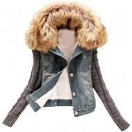 Minetom Damen Herbst Winter Stilvoll Großer Plüsch Kragen Denim Jacken Beiläufig Stricken Langarm Jeansjacke Warm Mantel Outwear Bekleidung