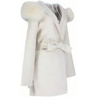 Damen Oversize Kaschmir Mantel Leya mit XXL Kragen aus 100% Echtpelz Echtfell Wollmantel Bekleidung